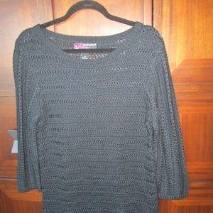 Women's Long Pullover Black Sweater/Fringe
